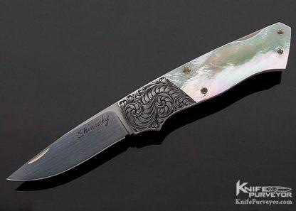 Andy Shinosky Custom Knife Mother of Pearl Lockback Folder 11249 Open