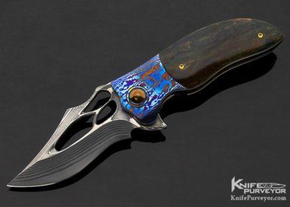 Ali-Bastian-Custom-Knife-Salamander-number-138-Mammoth-Sole-Authorship-San-Mai-Damascus-and-Ti-Damascus-Linerlock-Flipper-10944-Open