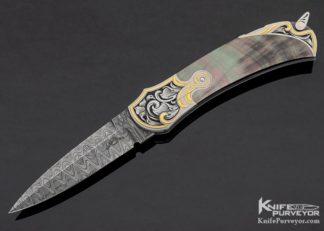 Warren Osborne Custom Knife Damascus & Black Lip Pearl Automatic Lockback Engraved by Julie Warenski 11191 Open