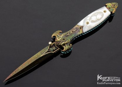 Shaun and Sharla Hansen Custom Knife Blued Sole Authorship Carved Damascus with 24 KT Gold Inlays and Carved Mother of Pearl Shell D/A Automatic Linerlock 11194 Open