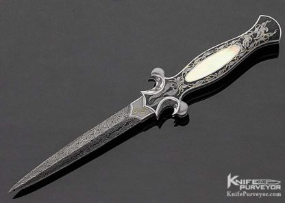 Shaun & Sharla Hansen Custom Knife South Sea Gold Lip Pearl Interframe Engraved Damascus Automatic Dagger 11195 Open