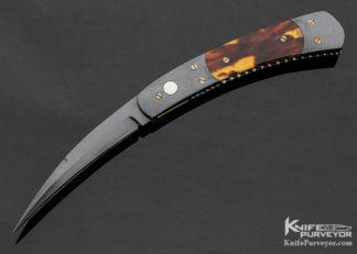 "Frank Potter Custom Knives ""Black Mamba"" Amber & Blued Steel Wharncliff Auto 11280"
