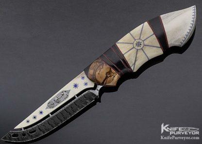 "Jonny Walker Nilsson Custom Knife ""Arctic Collaboration"" Scrimshawed Reindeer Antler with Mattias Styrefors Mosaic Damascus 11208 Open"