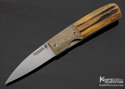 Frank Centofante Custom Knife Mokume & Amber Stag Linerlock 11252