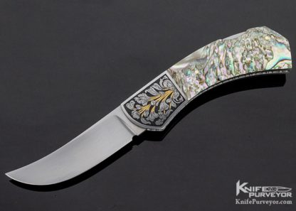 John W. Smith Custom Knife Engraved Abalone Lockback Folder 11245
