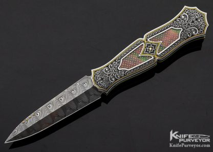 Anders Hedlund Custom Knife Damasteel Engraved Frame with Black Lip Pearl with 24Kt Gold Dots Linerlock Dagger 11215