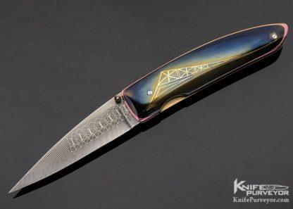 Owen Wood Custom Knife Armin Winkler Engraved Inset with 24K Gold Linerlock 11173