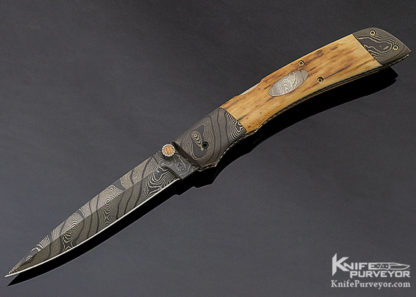 Charlie Dake Custom Knife Damascus and Mammoth D/A Automatic with Escutcheon Release 11305