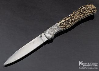 LJ Thompson Custom Knife Popcorn Stag Midlock Engraved by Chris Meyer 11321