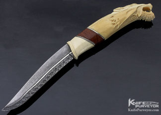"Roger Bergh Custom Knife ""Dragon"" Carved Mammoth & Damascus Fixed Blade 11310"