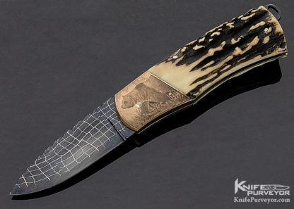 """Rick Hinderer Custom Knife Damascus & Popcorn Stag Tail Lock """"Grizzly Bear"""" Engraved by Chris Meyer 11335"""