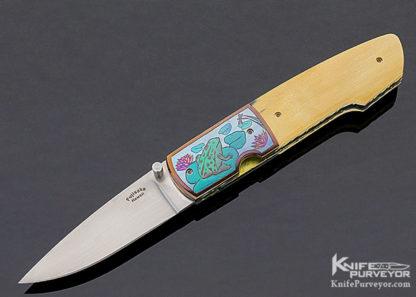 "Stan Fujisaka Custom Knife Judy Beaver Engraved ""Dragonfly & Frog"" Mammoth Linerlock 11330"