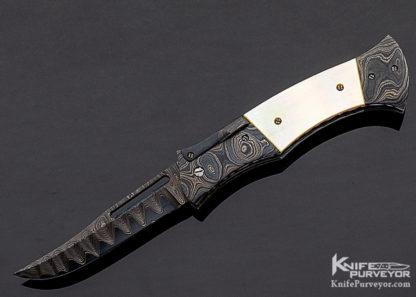 Rick Hinderer Custom Knife Sole Authorship Damascus & South Sea Gold Lip Pearl Shell Automatic Linerlock 11326