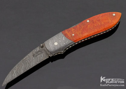 Joel Chamblin Custom Knife Damascus and Coral Midlock 11322