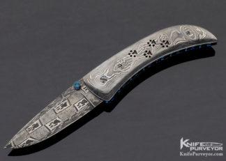 """Shane Taylor Custom Knife Sole Authorship """"Dog Paw"""" Damascus Linerlock 11323"""