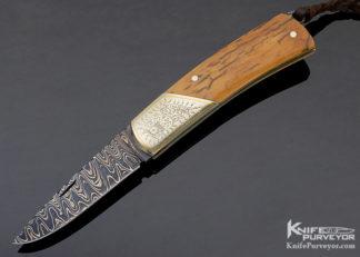 Rick Hindered Custom Knife Sole Authorship Damascus & Mammoth Tail Lock Engraved by Simon Lytton 11319
