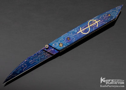 Barry Gallagher Custom Knife Blued Sole Authorship Mosaic Damascus with 24Kt Gold Inlaid Linerlock 11348