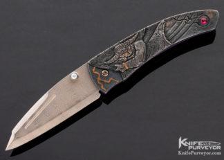 Glenn Waters Custom Knives Carved Kokoro Linerlock 11359