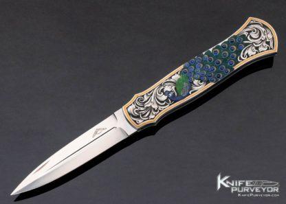 "Warren Osborne Custom Knife Julie Warenski Color Engraved ""Peacock"" Sapphire Inlaid Lockback Dagger 11418"