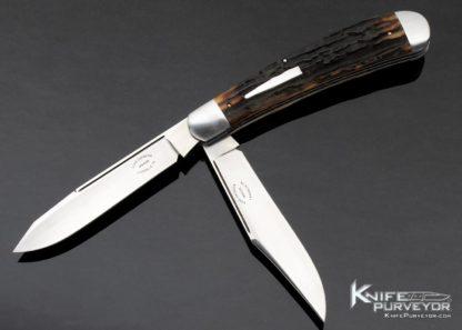 Luke Swenson Custom Knife Stag 2 Blade Remington Bullet Slip Joint Trapper 11378