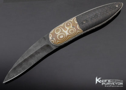 Corrie Schoeman Custom Knife Damascus Mokume & Carbon Fiber Linerlock 11397