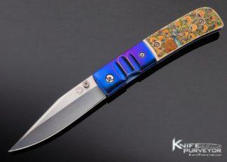 Charlie Morris Custom Knife Anodized Titanium & Color Scrimshawed Mammoth by Sandra Brady 11416
