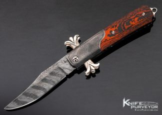 Richard S. Wright Custom Knife No. 337 Bolster Release Folding Bowie Automatic Featuring J.D. Smith Damascus & Red Carbon Fiber 11421