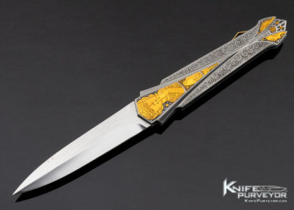 Ken Steigerwalt Custom Knife Fluted Lockback Dagger with 14Kt Gold Accents Engraved by Martin Butler 11429