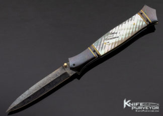 John W. Smith Custom Knife Blued Sole Authorship Damascus & Fluted Mother of Pearl Shell Linerlock Dagger 11398