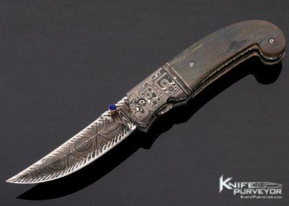 Jim Turecek Custom Knife Acid Etched Damascus & Mammoth Linerlock 11410