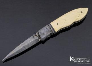 Jim Turecek Custom Knife Damascus & Fluted Mammoth Linerlock 11411