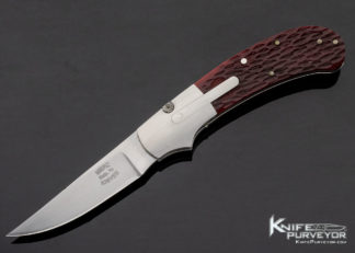 Robert Merz Custom Knife Red Jigged Bone Lever Release Automatic 11408